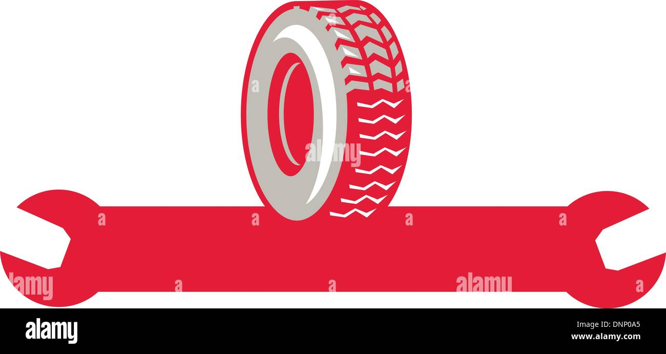Illustration of a tire wheel with spanner wrench done in retro style - Stock Vector