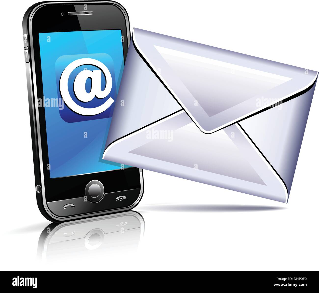 Concept showing email communication by mobile phone - text sms - Stock Image