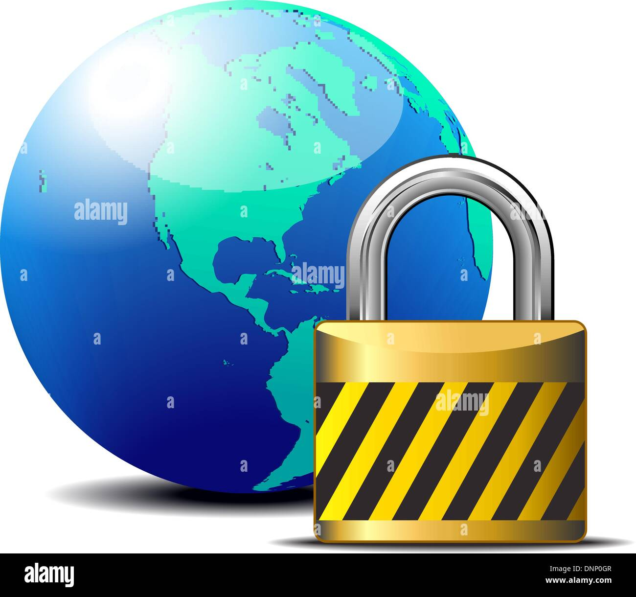 Secure internet connection with global world - Firewall, Account Unlock, Safe, Lock - Stock Vector