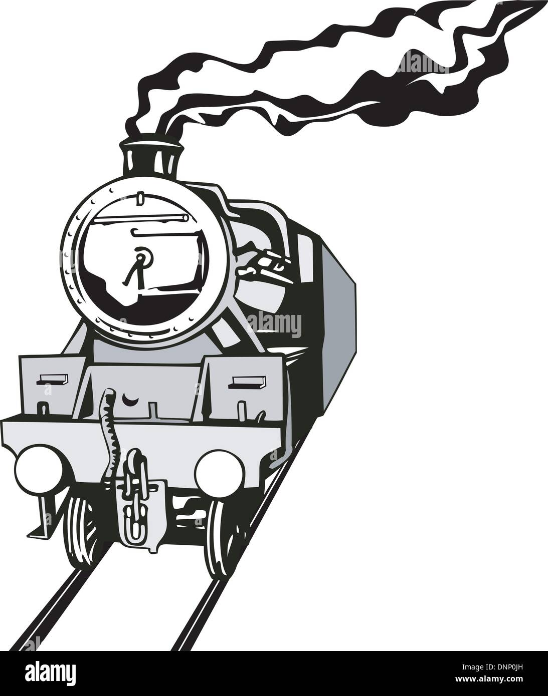 Illustration Of A Vintage Train Front View In Black And White On Isolated Background Done Retro Style