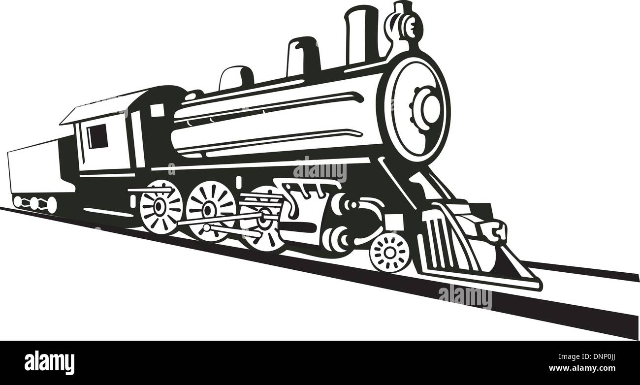 Illustration Of A Vintage Train Side View On Isolated Background Done In Retro Style