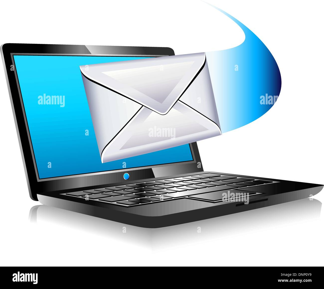 SMS Text Email sent and arriving from a laptop - Mailing the world internet connection - Stock Image