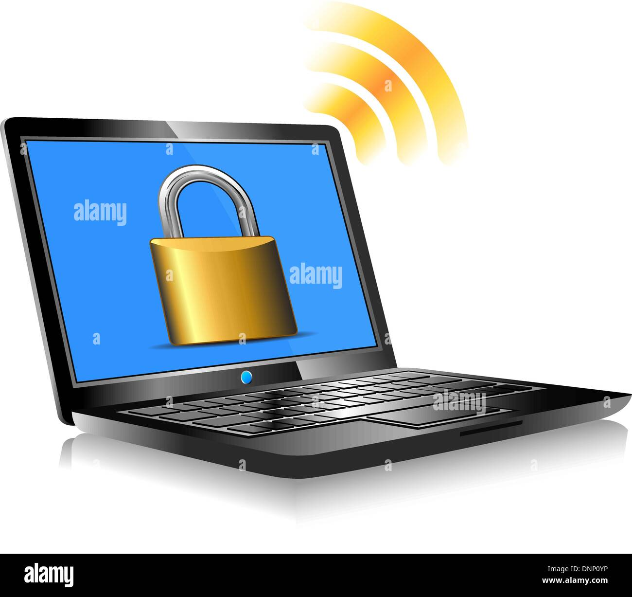 Laptop protection - internet connection with global world - password - Stock Vector