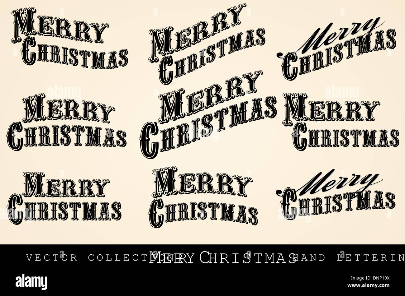 Vintage Victorian Merry Christmas Hand Drawn Typefaces