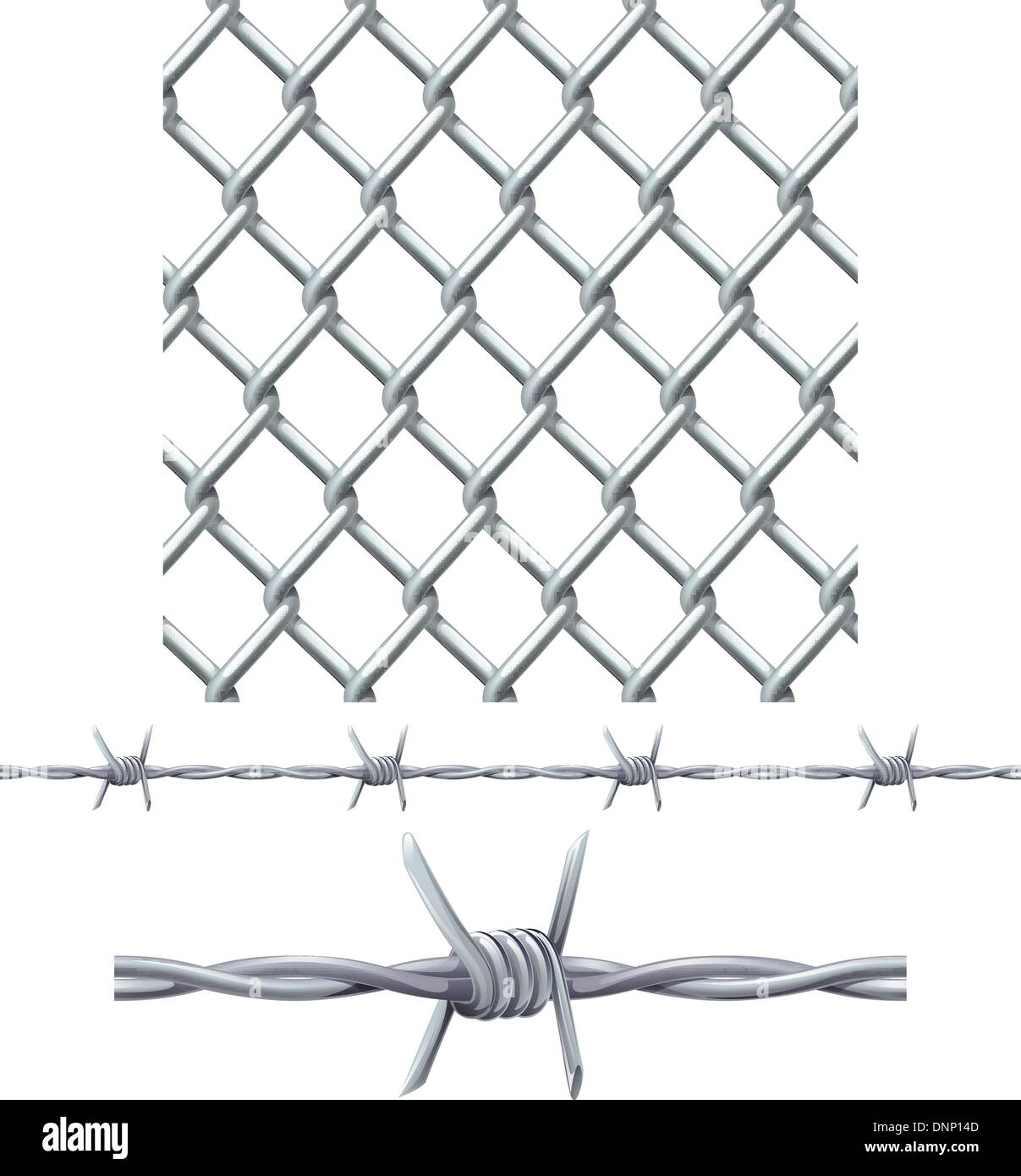 A seamless tiling diamond chainlink fence tile and barbed wire Stock ...