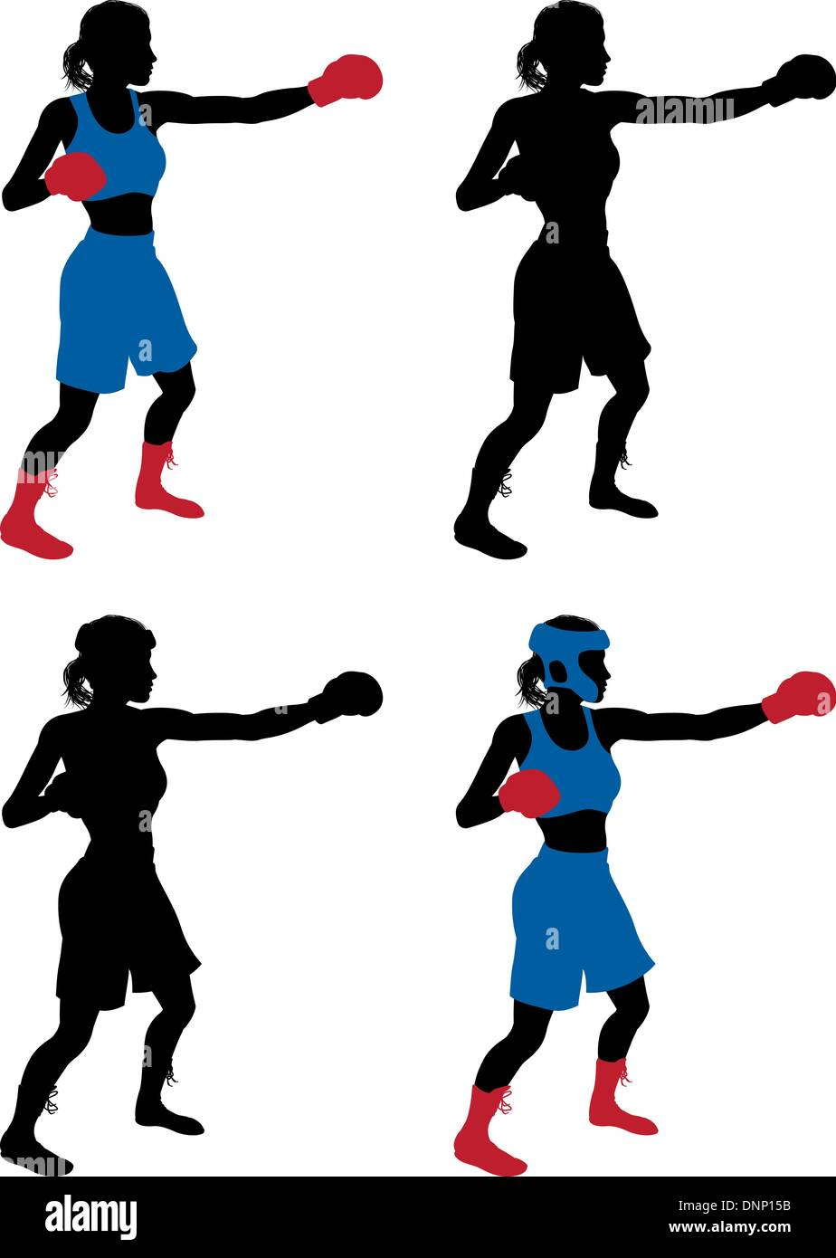 An illustration of a female boxer or boxercise woman boxing or working out. Color and simple silhouette outline versions include - Stock Vector