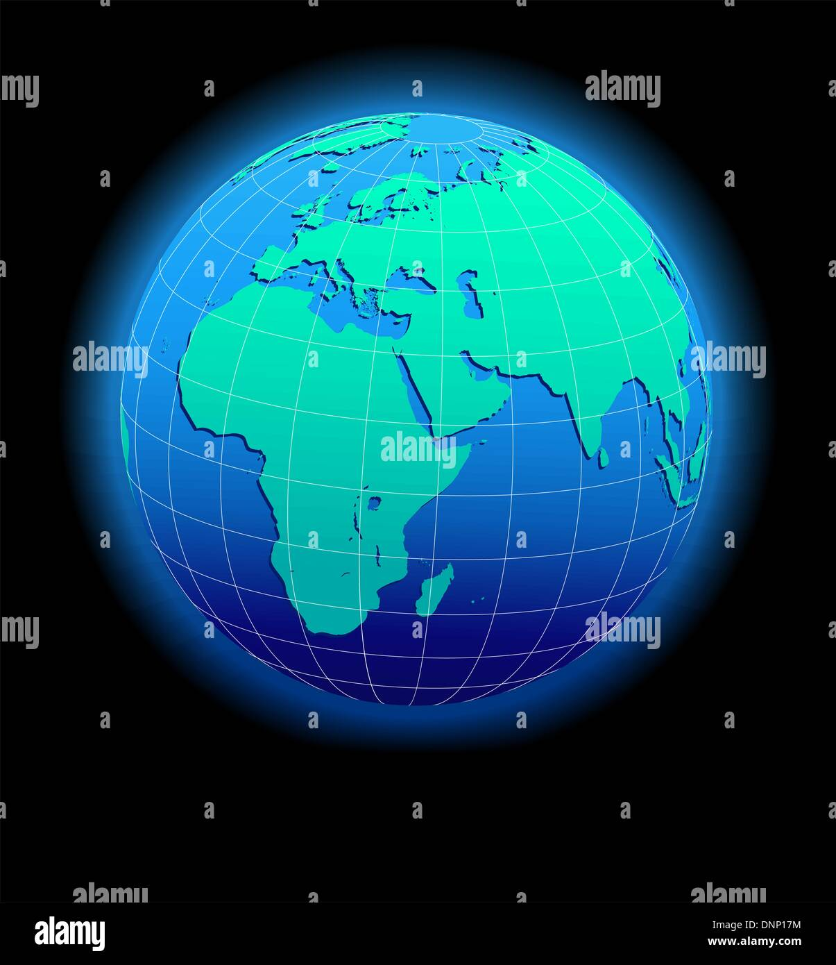 Africa, Arabia and India Global World - Middle East - Stock Image