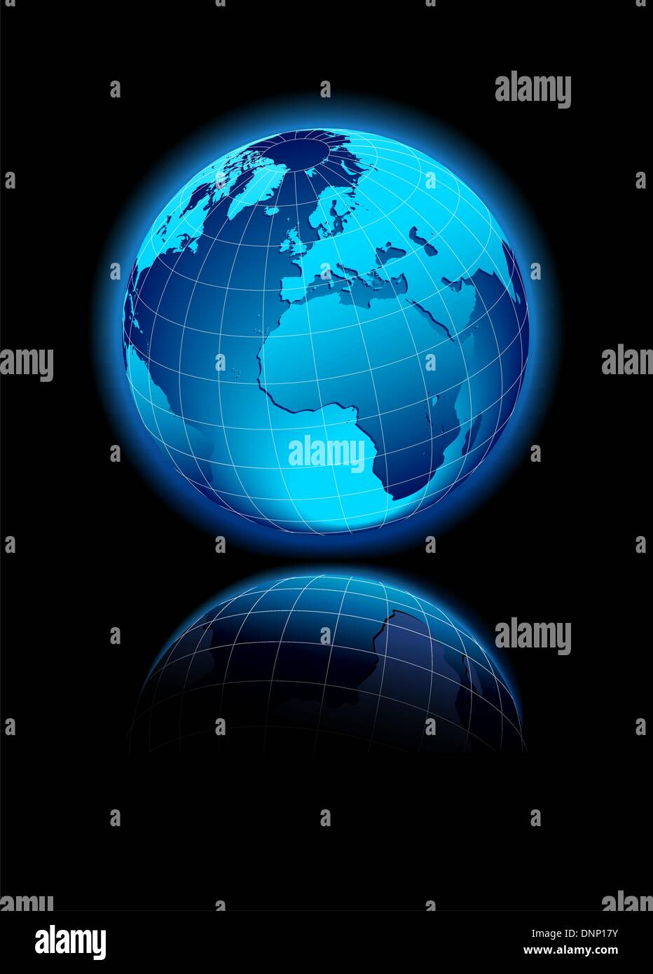 Vector Map Icon of the world in Globe form - Europe, Africa, Middle East Stock Vector