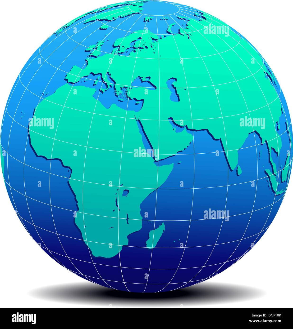 Globe of World Middle East - Vector Map Icon of the World in Globe - Stock Image