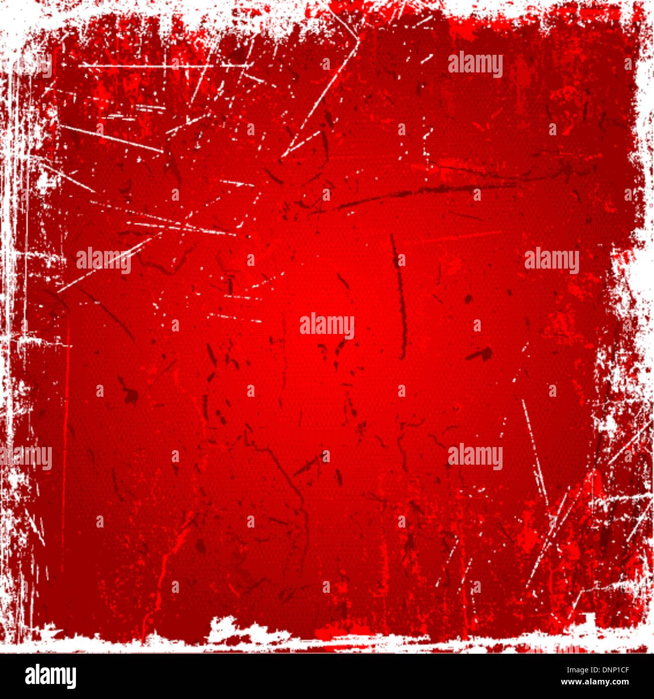 Grunge background with scratches and stains in shades of red - Stock Image