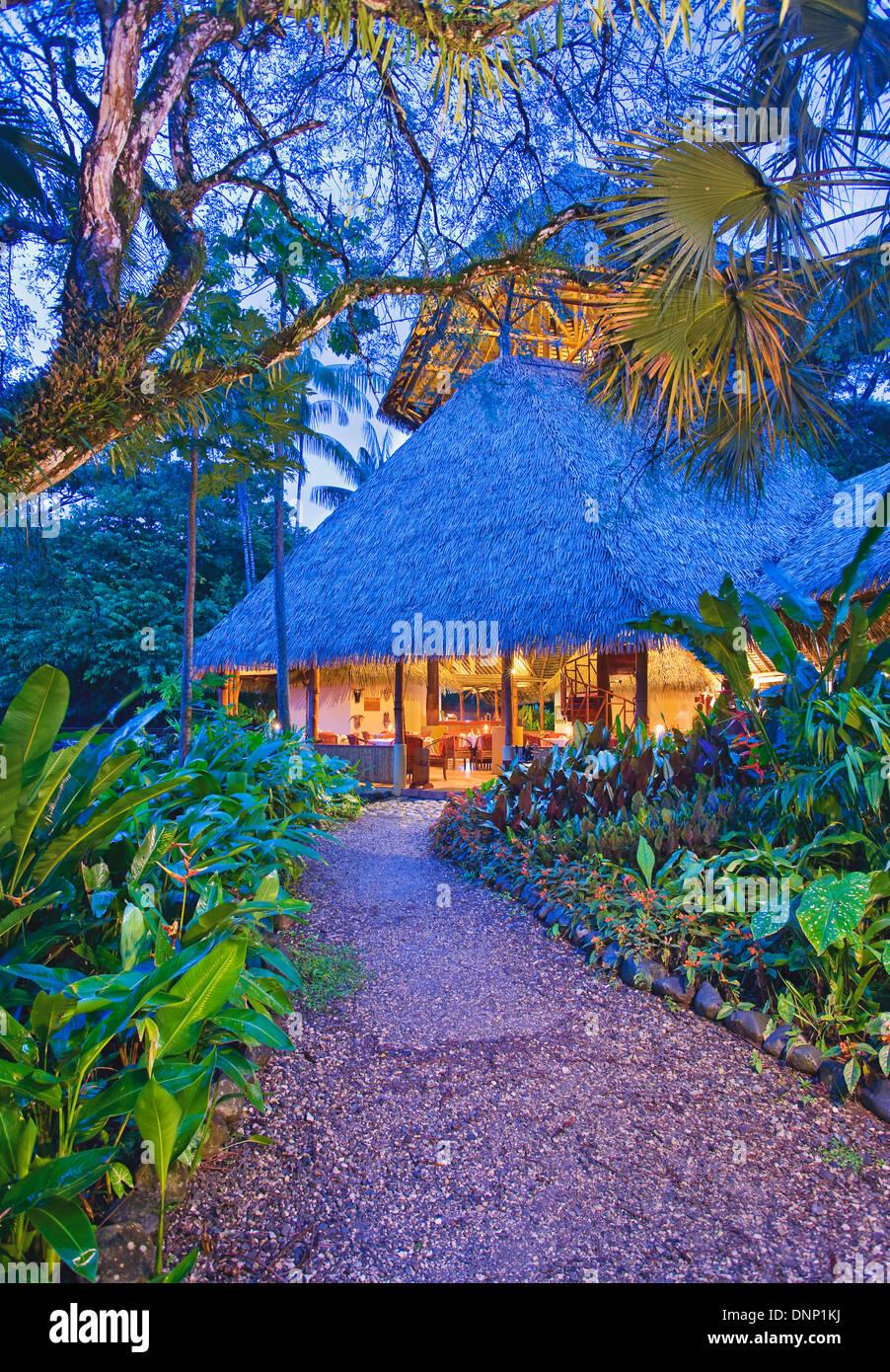 Exterior of main lodge at Lapa Rios, Costa Rica - Stock Image