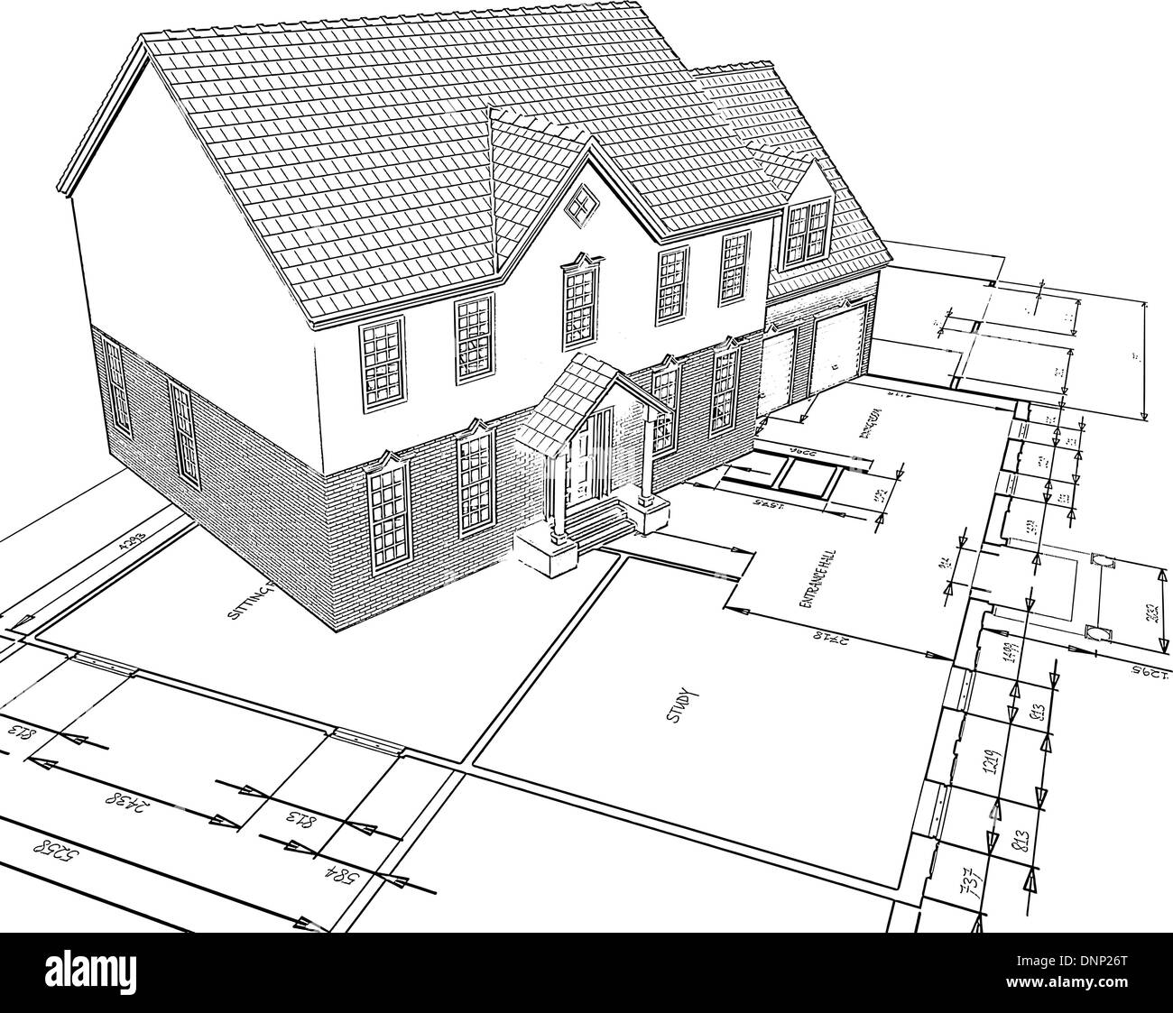 Sketched style illustration of a house on plans - Stock Image