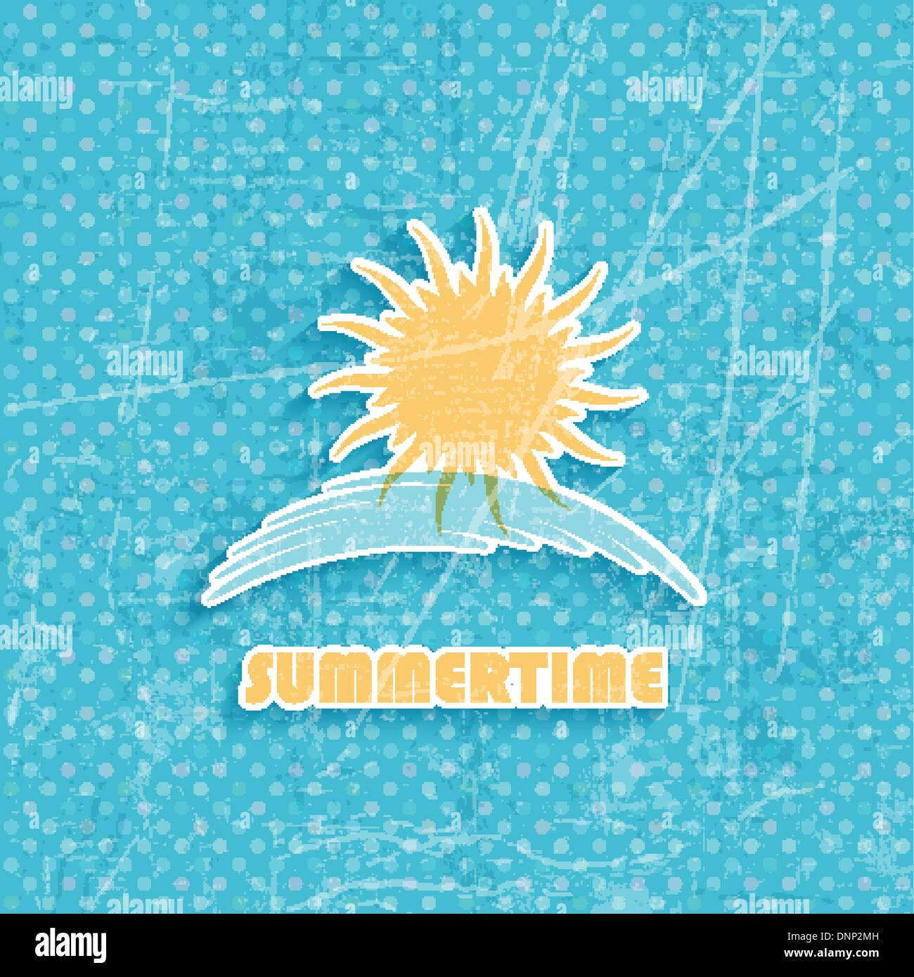 Grunge style summer background with sun icon - Stock Image