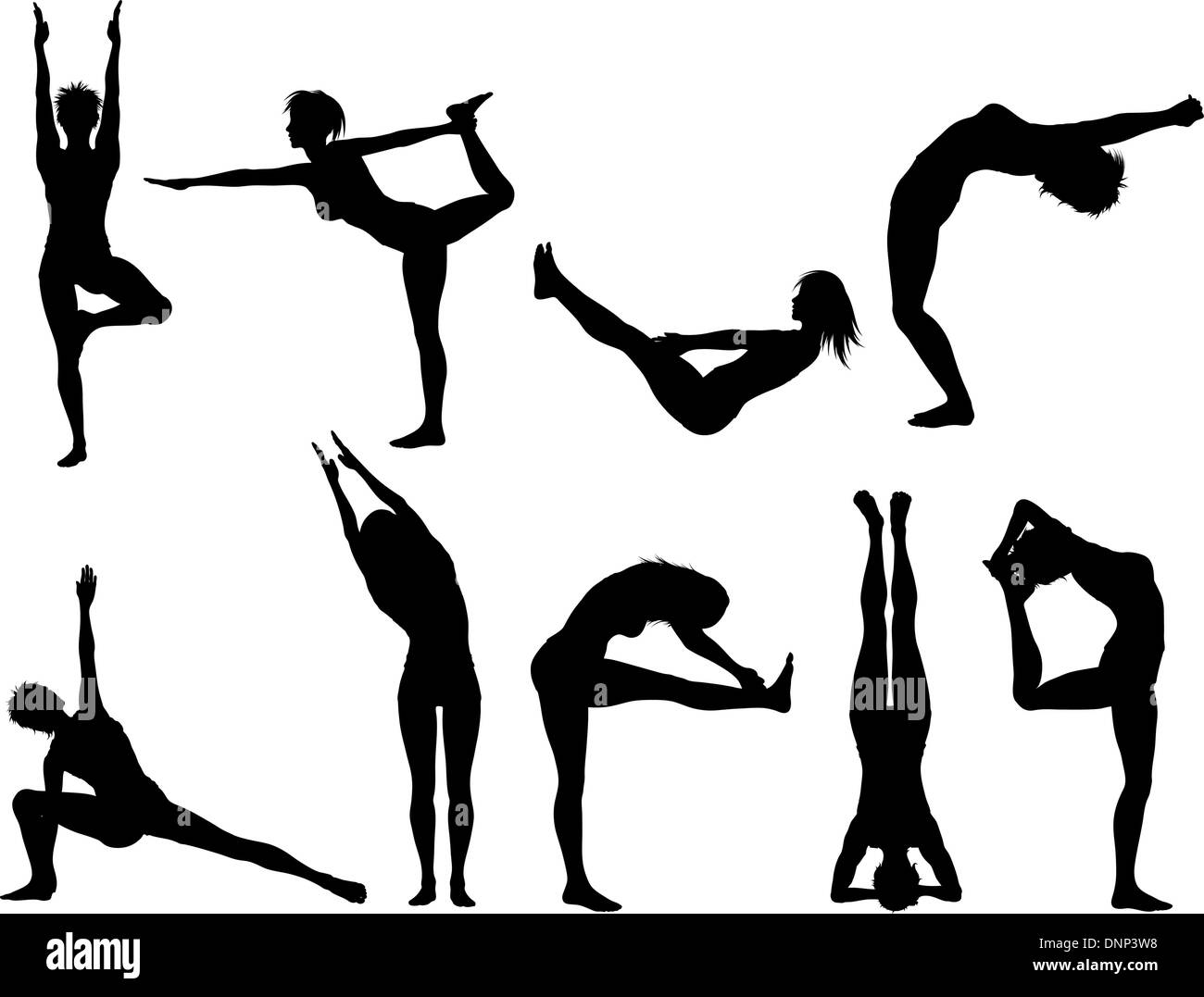 Silhouettes of females in various yoga poses - Stock Image