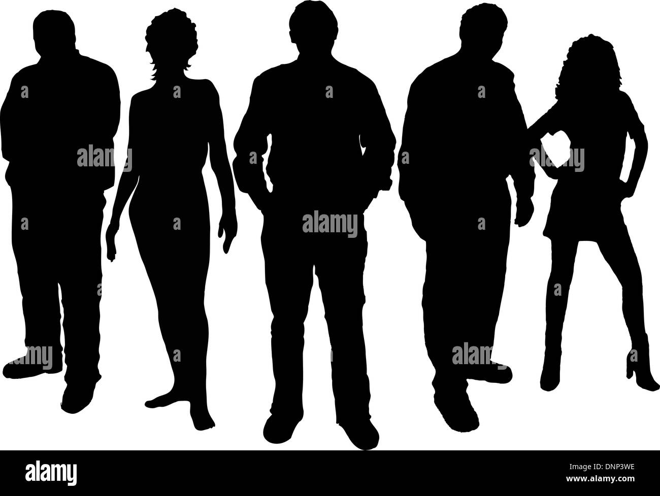 Silhouettes of young people - Stock Image
