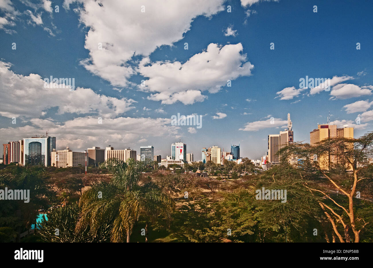 Panorama of Nairobi city skyline with high rise multi storey buildings seen from Nairobi Serena Hotel - Stock Image