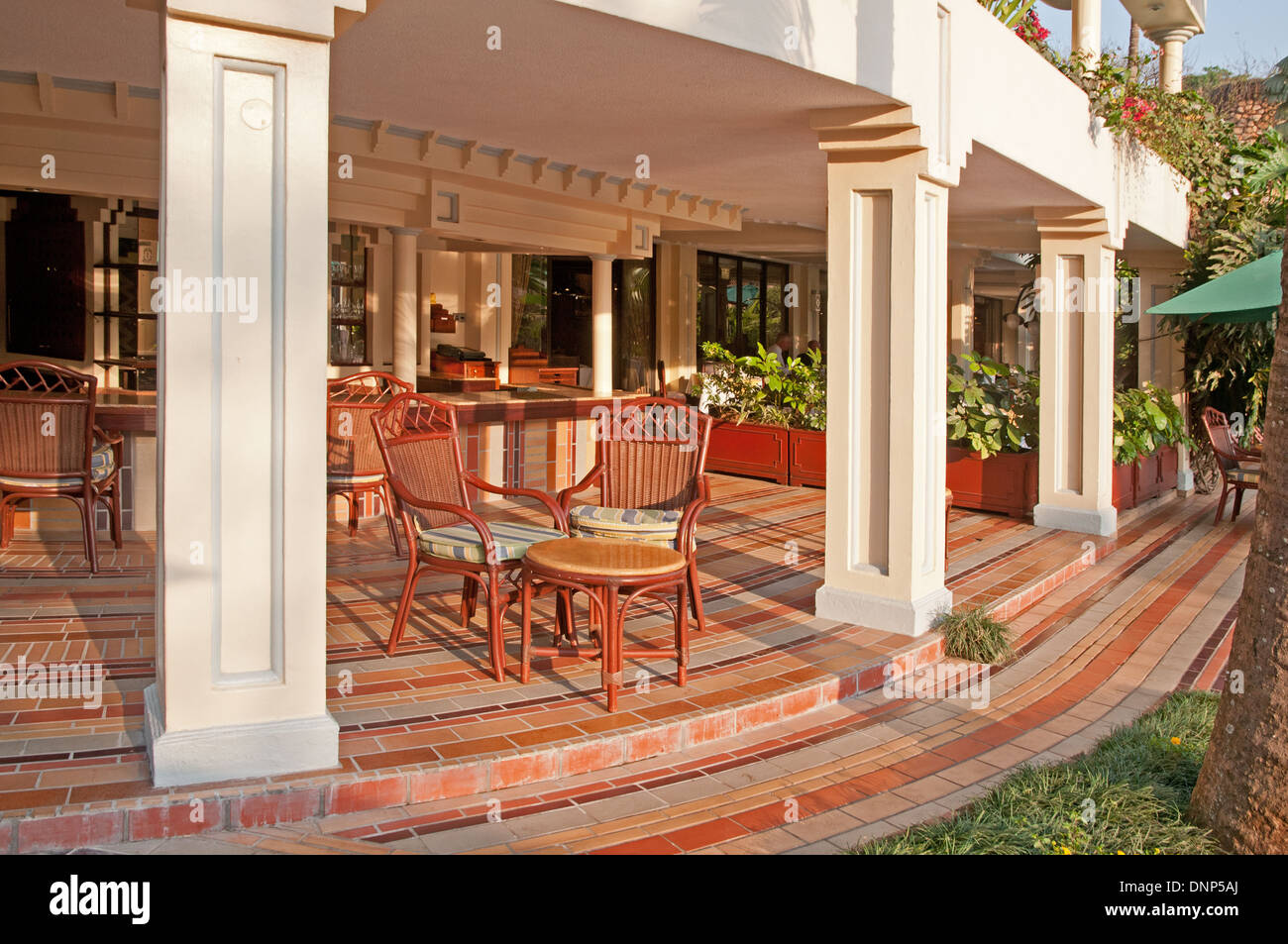 Nairobi Serena Hotle terrace adjacent to the swimming pool - Stock Image