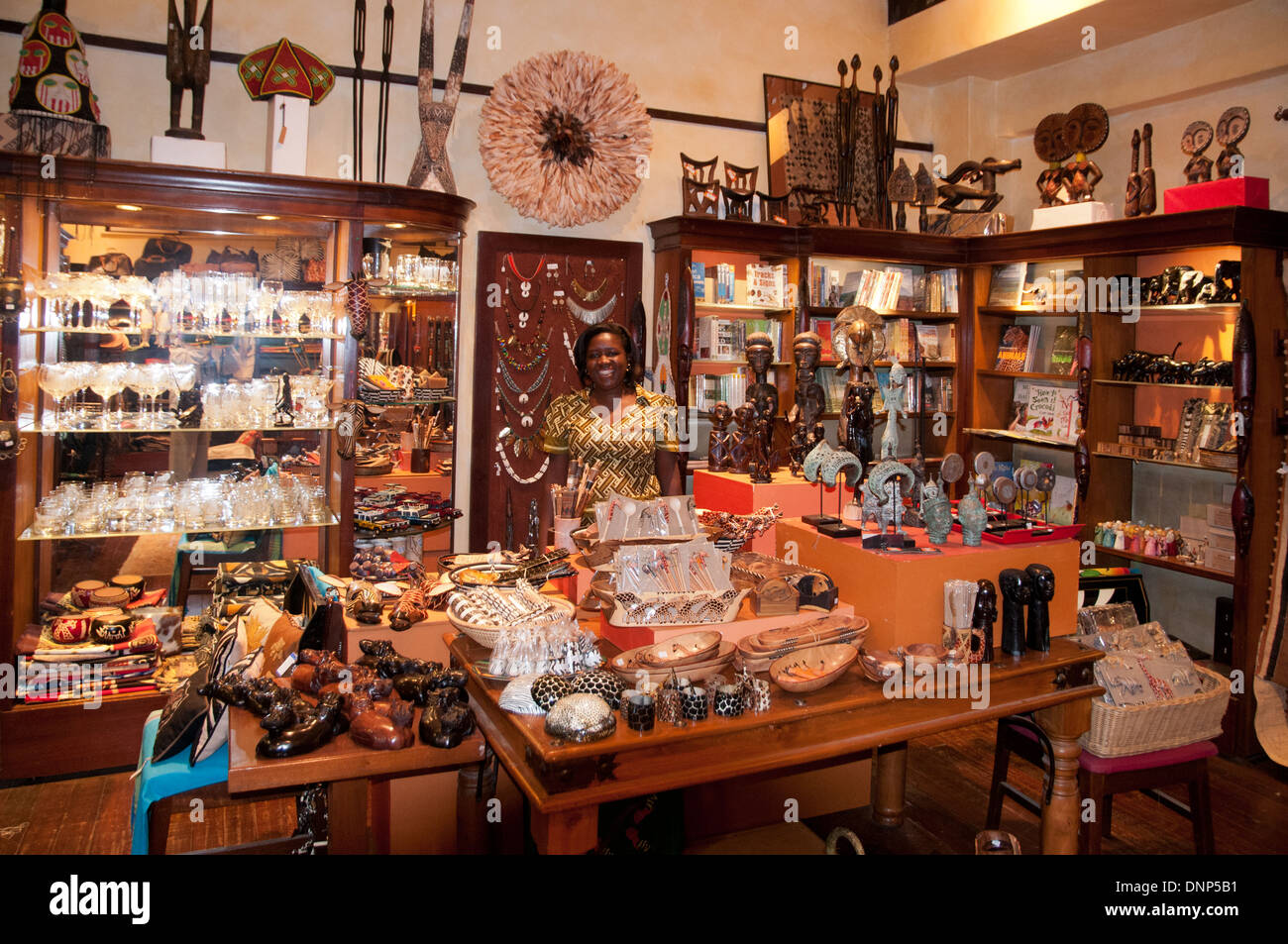 Nairobi Serena Hotel shop or boutique with local souvenirs on sale in Nairobi Kenya - Stock Image
