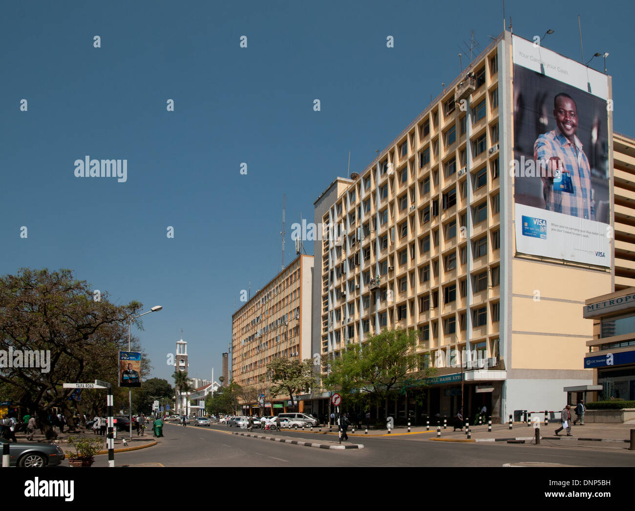 City Hall Way with high rise multi storey buildings and Trans National Plaza in Nairobi Kenya - Stock Image