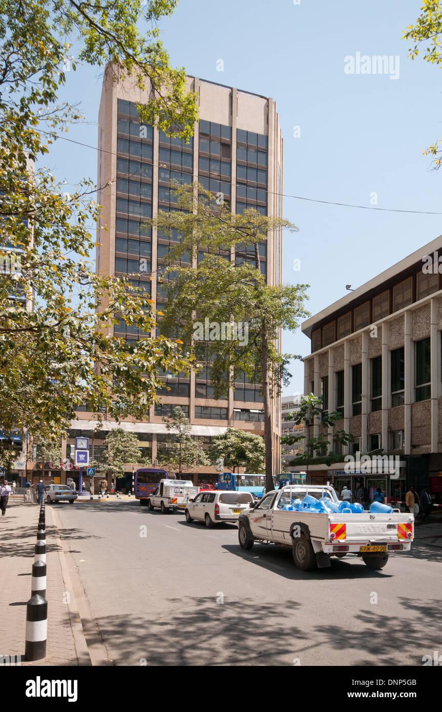 Traffic on Simba Street in central Nairobi Kenya - Stock Image