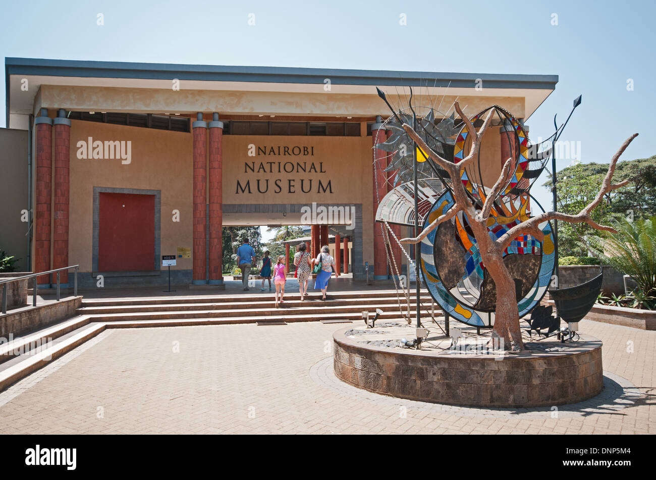 Entrance to Nairobi National Museum Kenya with family of white caucasians entering - Stock Image