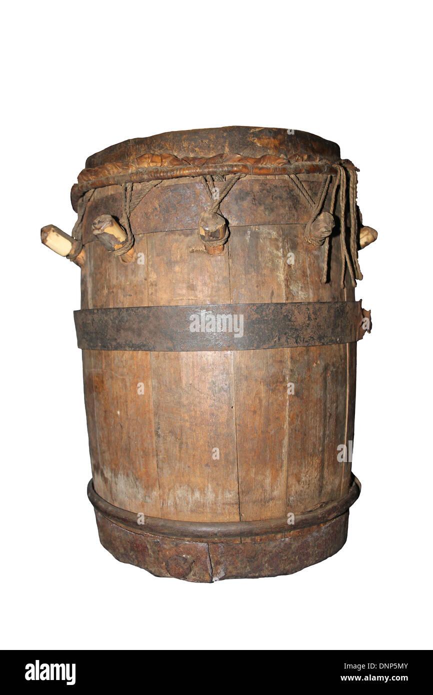Drum Made from A Gunpowder Keg, Batanga, Cameroon, West Africa about 1900 Stock Photo