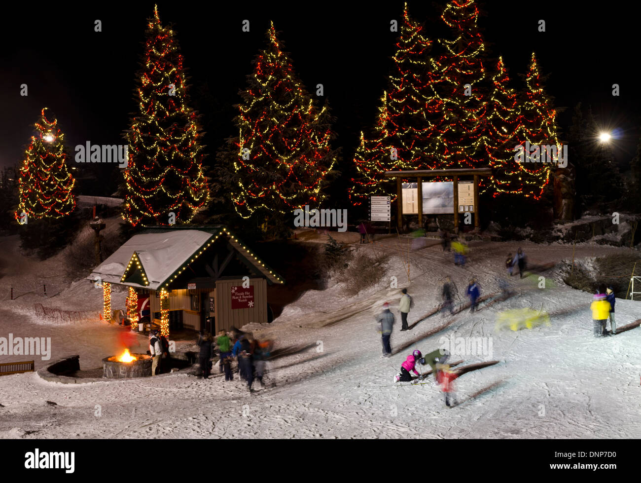 People Enjoying Winter Fun Atop Grouse Mountain In Vancouver Canada Lighted Christmas Trees Skating Rink And A Bonfire