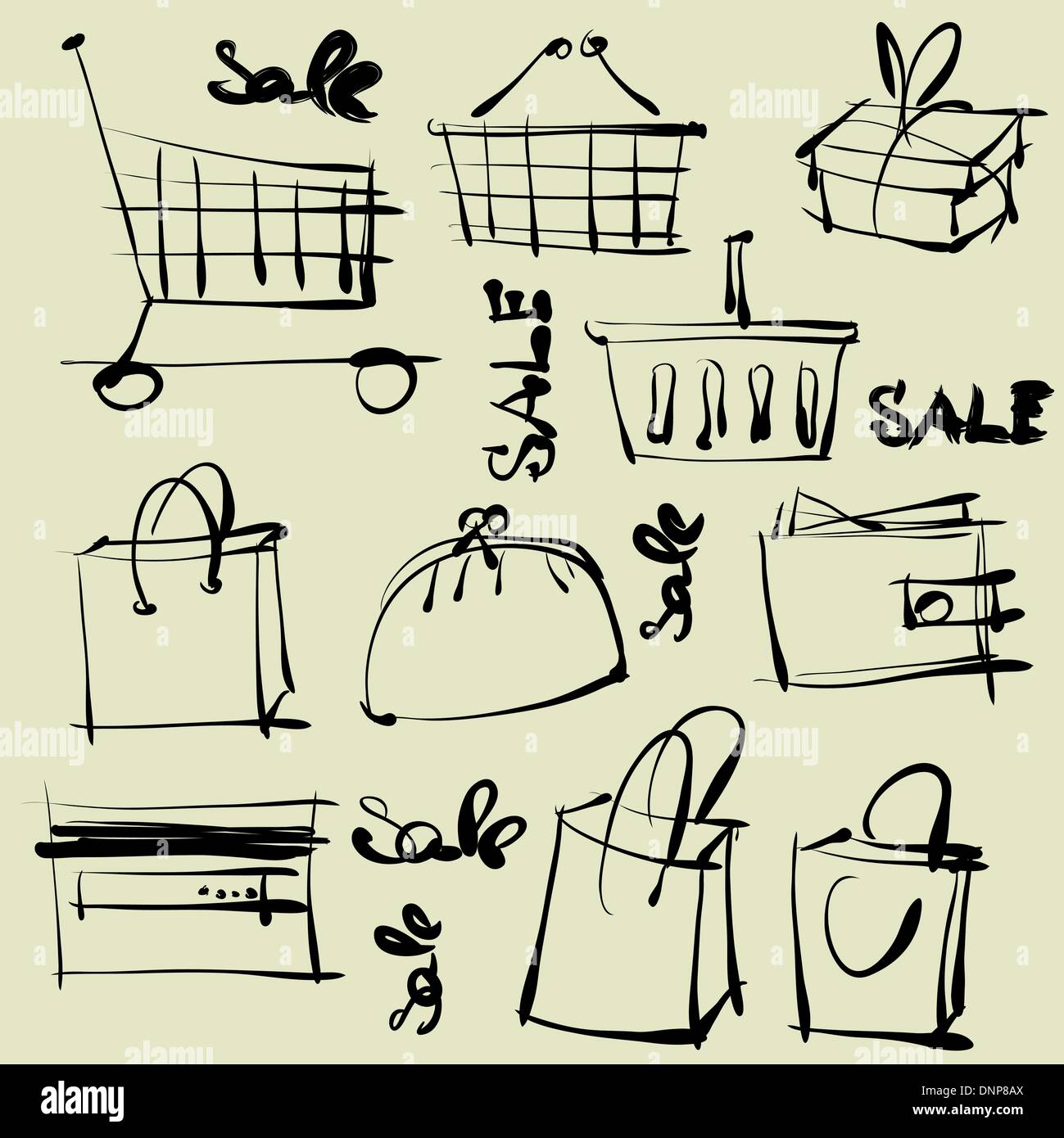 line drawings of shopping - Stock Image
