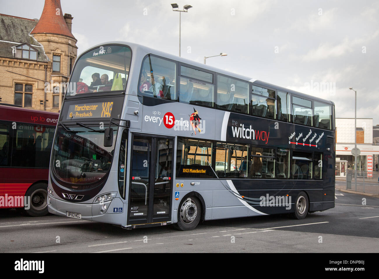 Volvo Wright Gemini 'Witch Way' buses on long-standing bus route X43 Stock Photo: 65030466 - Alamy
