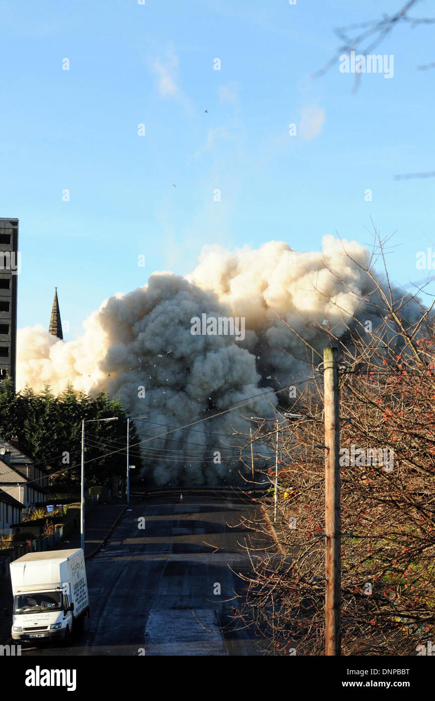 A Glasgow Housing Association multi-storey high rise is demolished on  Roystonhill area of Glasgow. - Stock Image