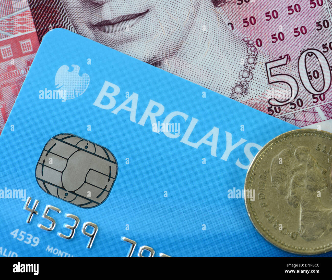 Barclays Visa card and Sterling currency - Stock Image
