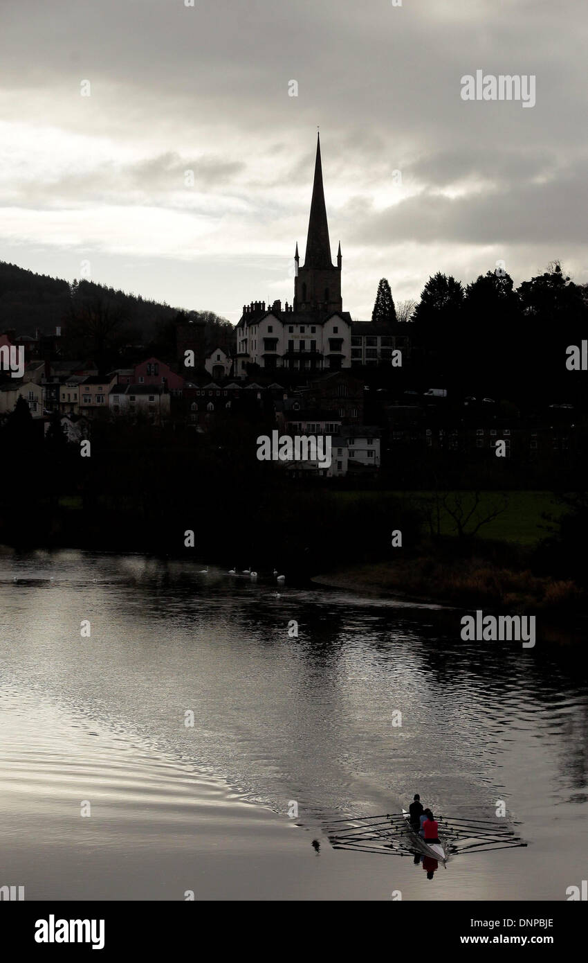 Rowing club take to the waters of the river Wye at Ross on Wye - Stock Image