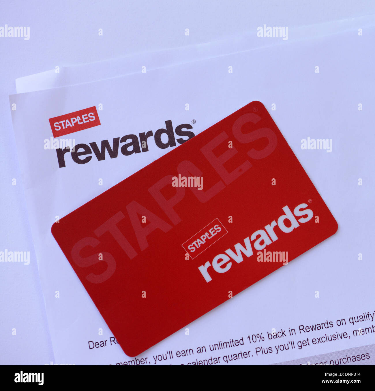 Staples reward card and Introductory letter - Stock Image