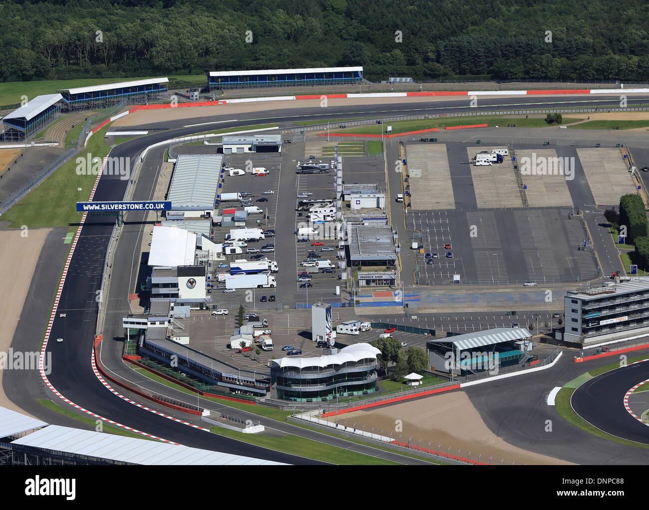Silverstone, an aerial view looking down the old pit straight to ...