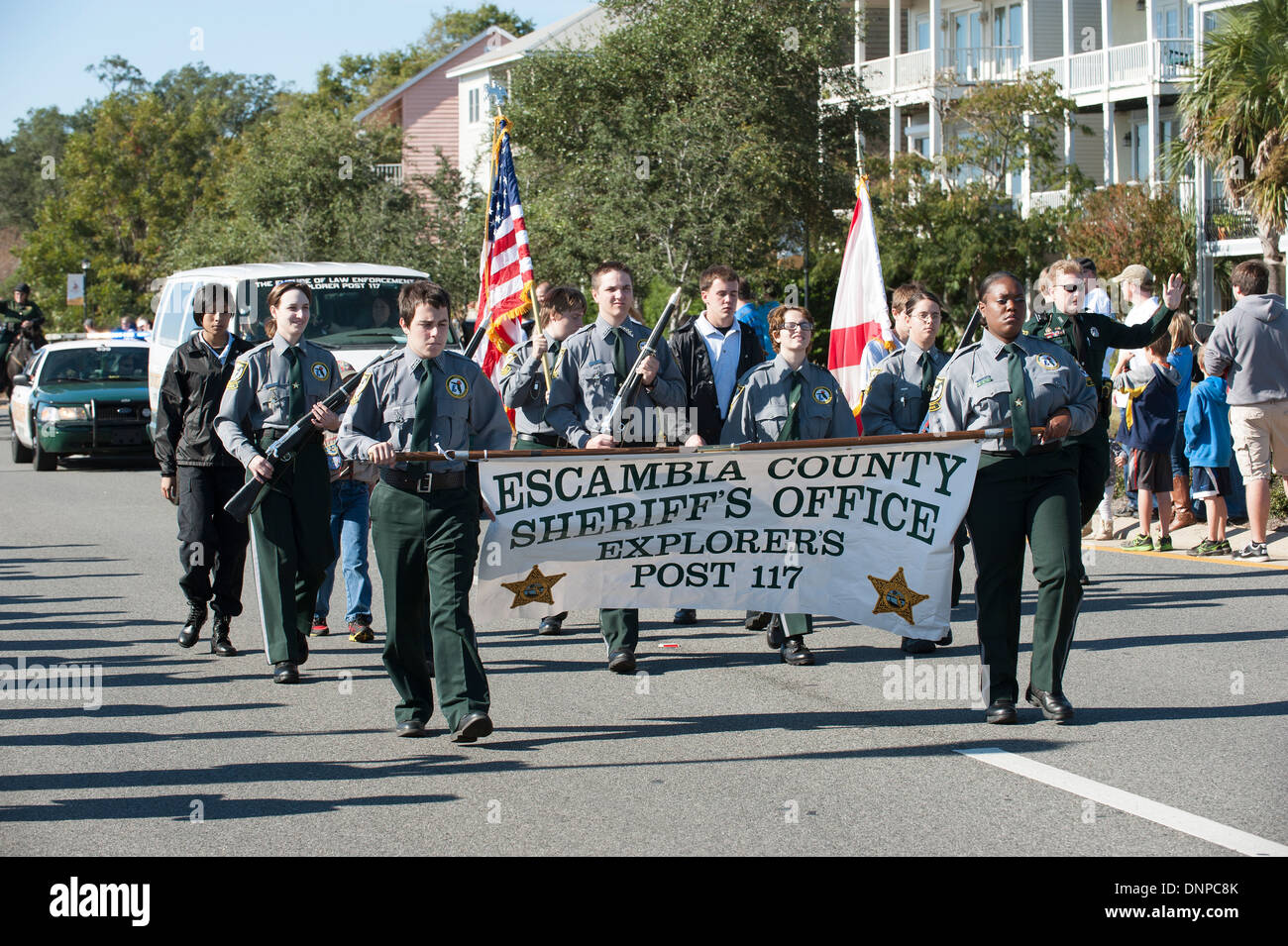 Escambia County Sheriffs Office Explorers march on Veterans Day parade Pensacola Florida USA - Stock Image