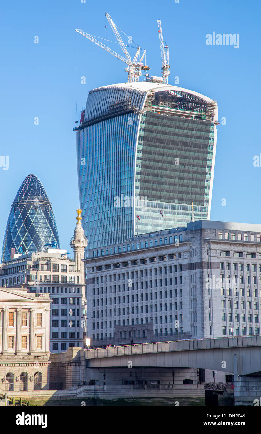 20 Fenchurch Street, Walkie Talkie tower under construction in London 2013 - Stock Image
