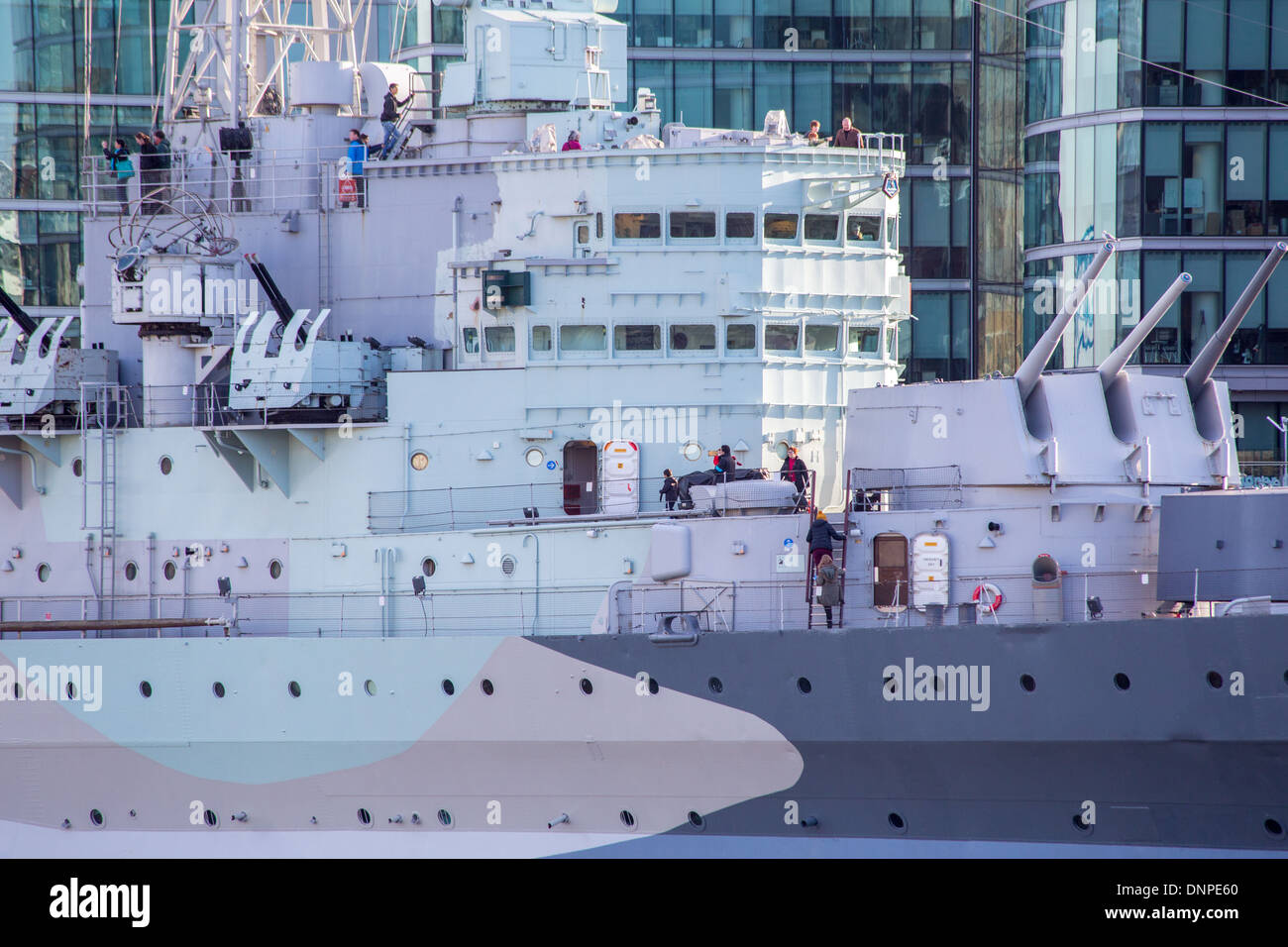 HMS Belfast tourist attraction museum ship moored in London - Stock Image