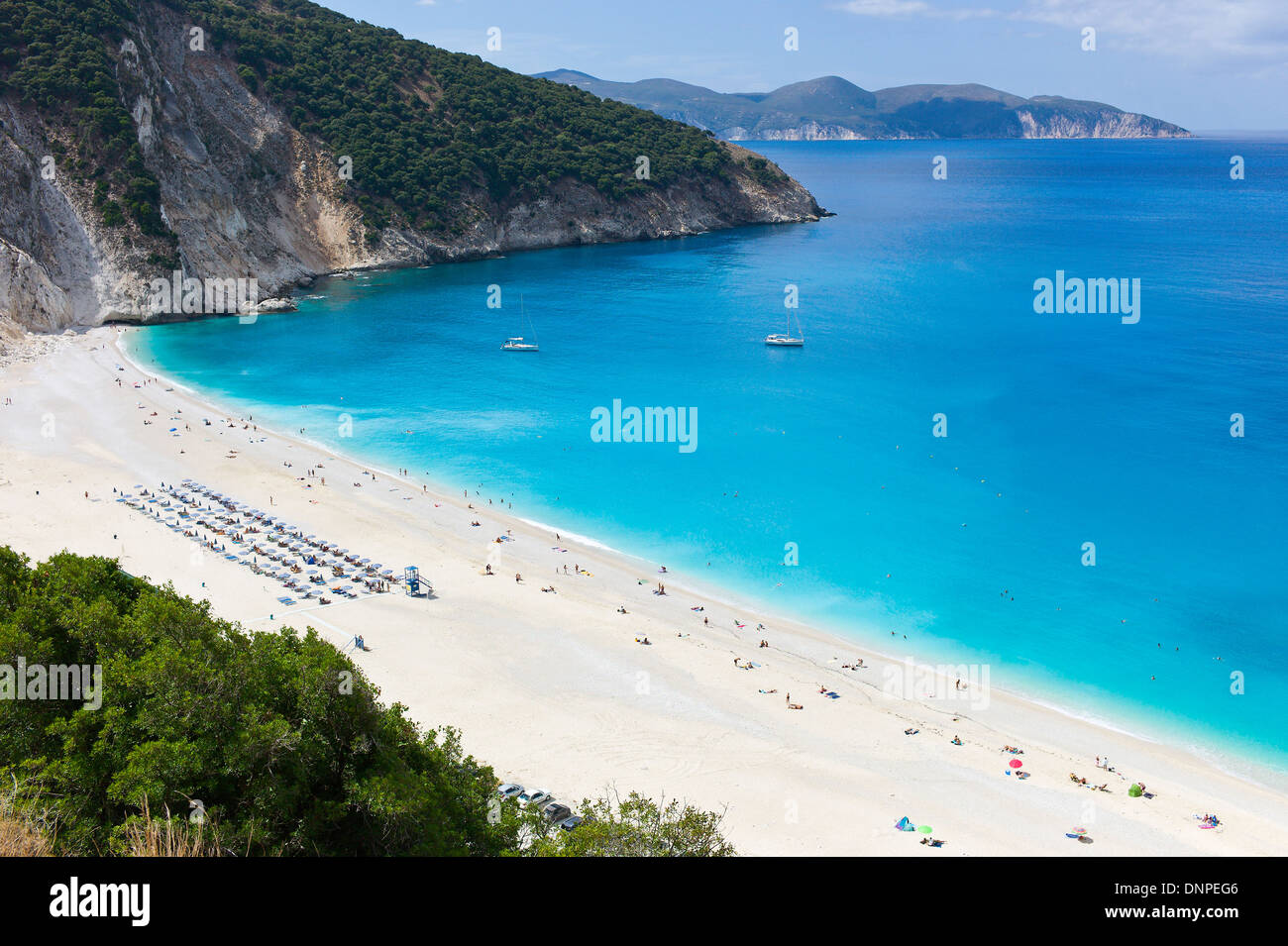 Overlooking the white Myrtos Beach, Cefalonia, Greece - Stock Image