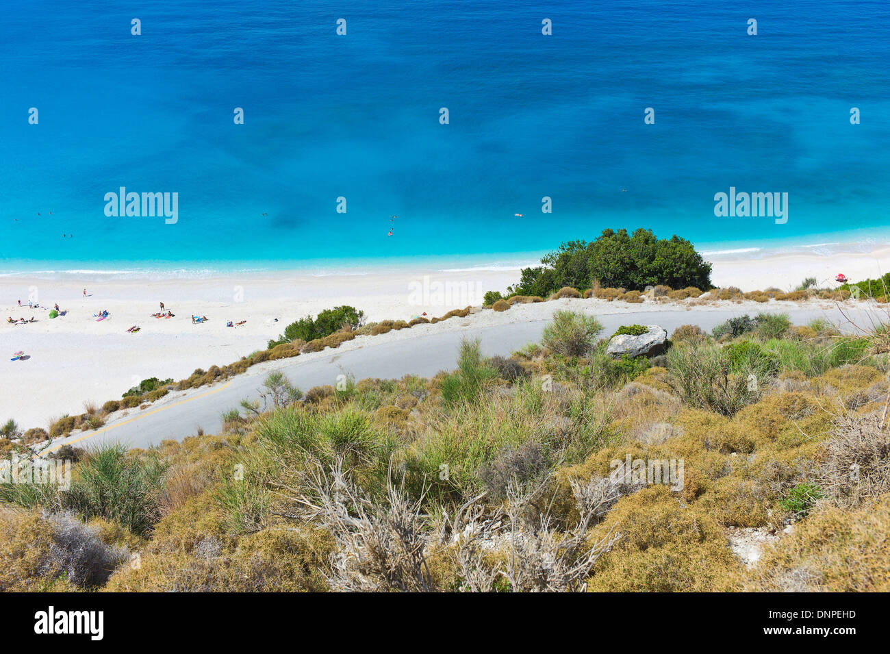 Overlooking Myrtos Beach, Kefalonia, Greece Stock Photo