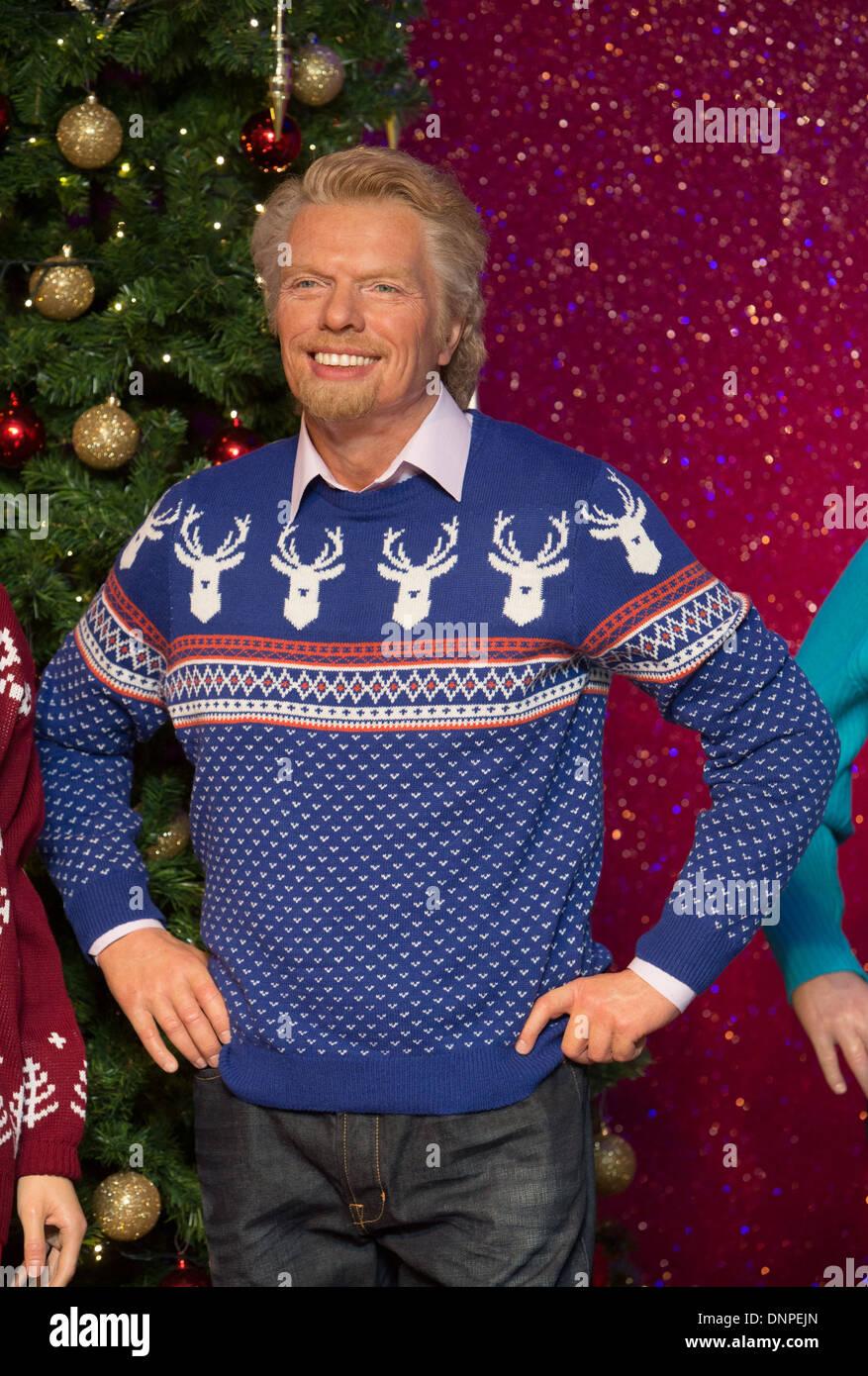 Richard Branson Christmas Jumper Madam Tussauds - Stock Image