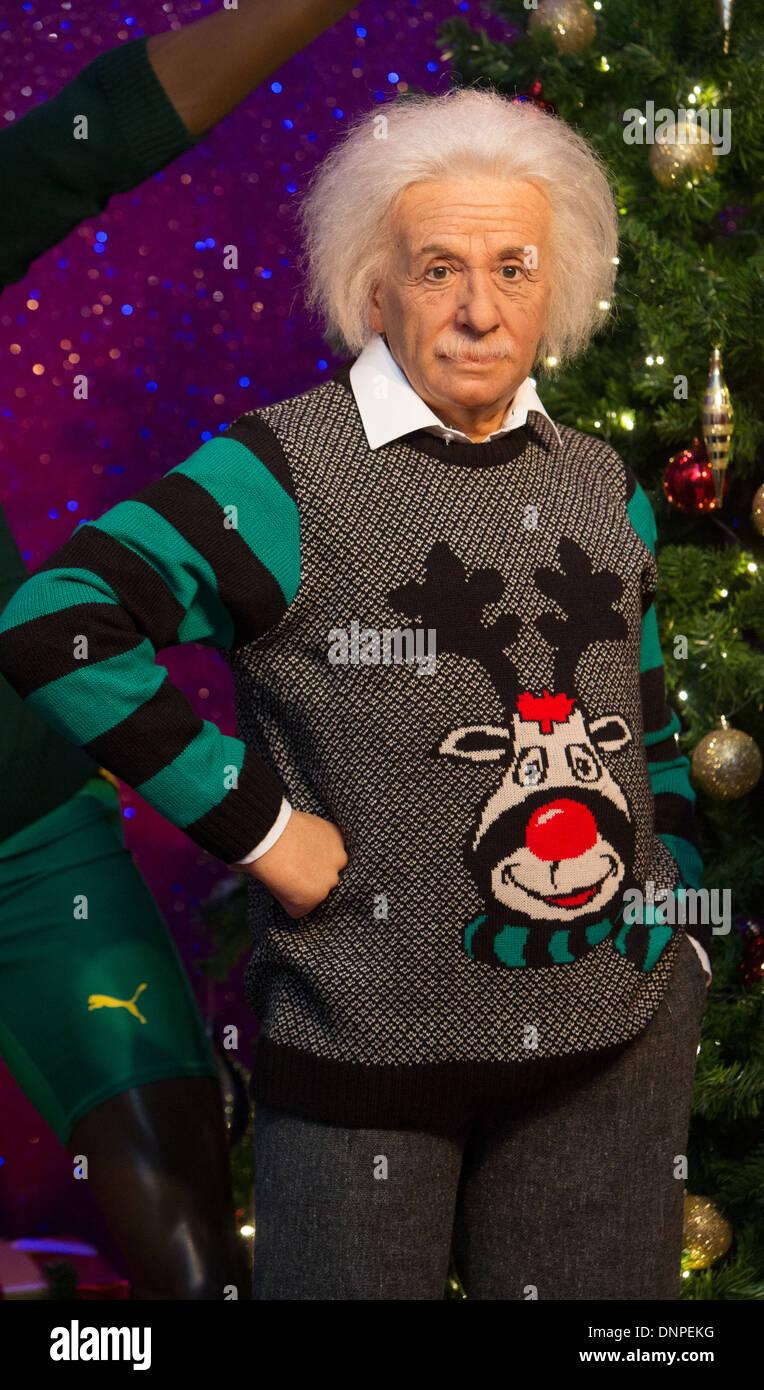 Albert Einstein Christmas Jumper Madam Tussauds - Stock Image
