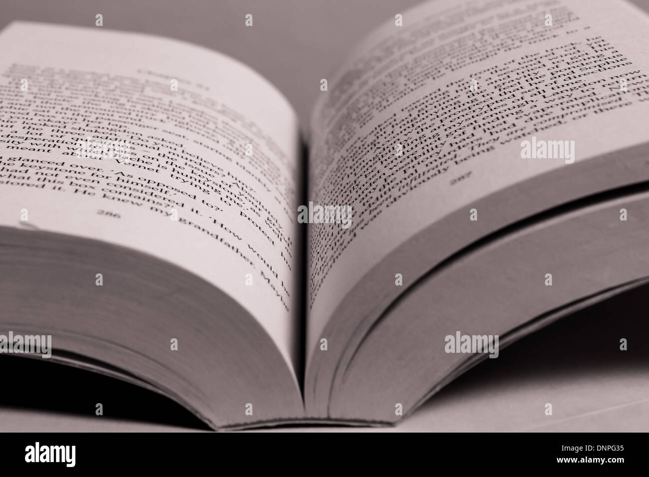Open book black and white - Stock Image