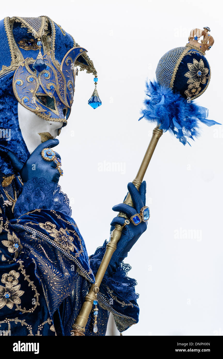 carnival participant dressed in blue Jester costume , San Marco ...