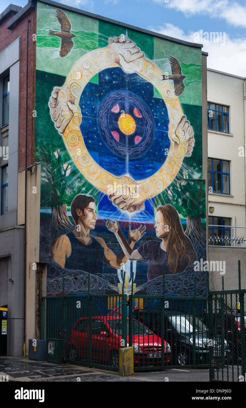 Peace Mural in Belfast City Centre - Stock Image