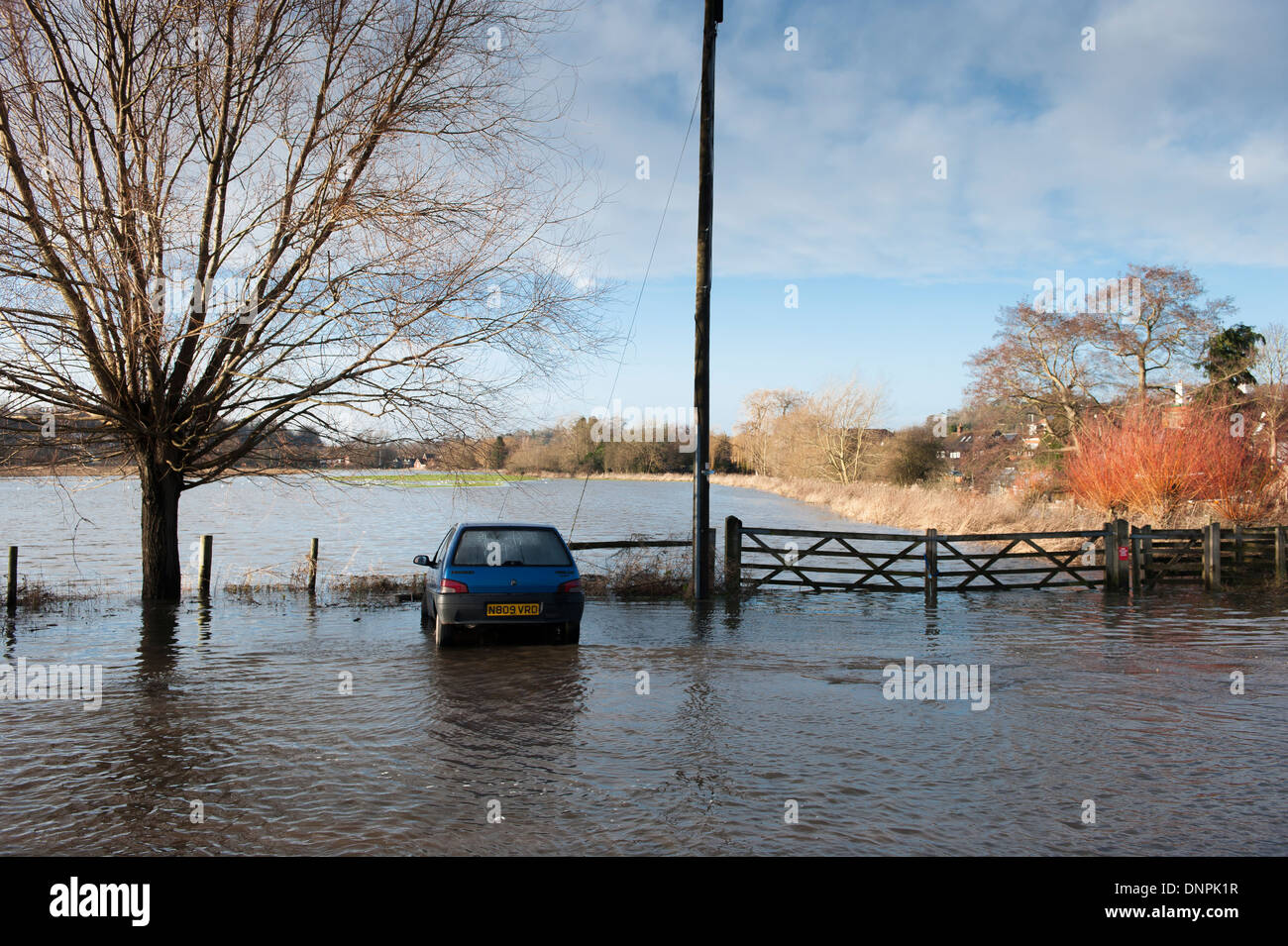 Flooding, River Wey, Godalming, Surrey - Stock Image