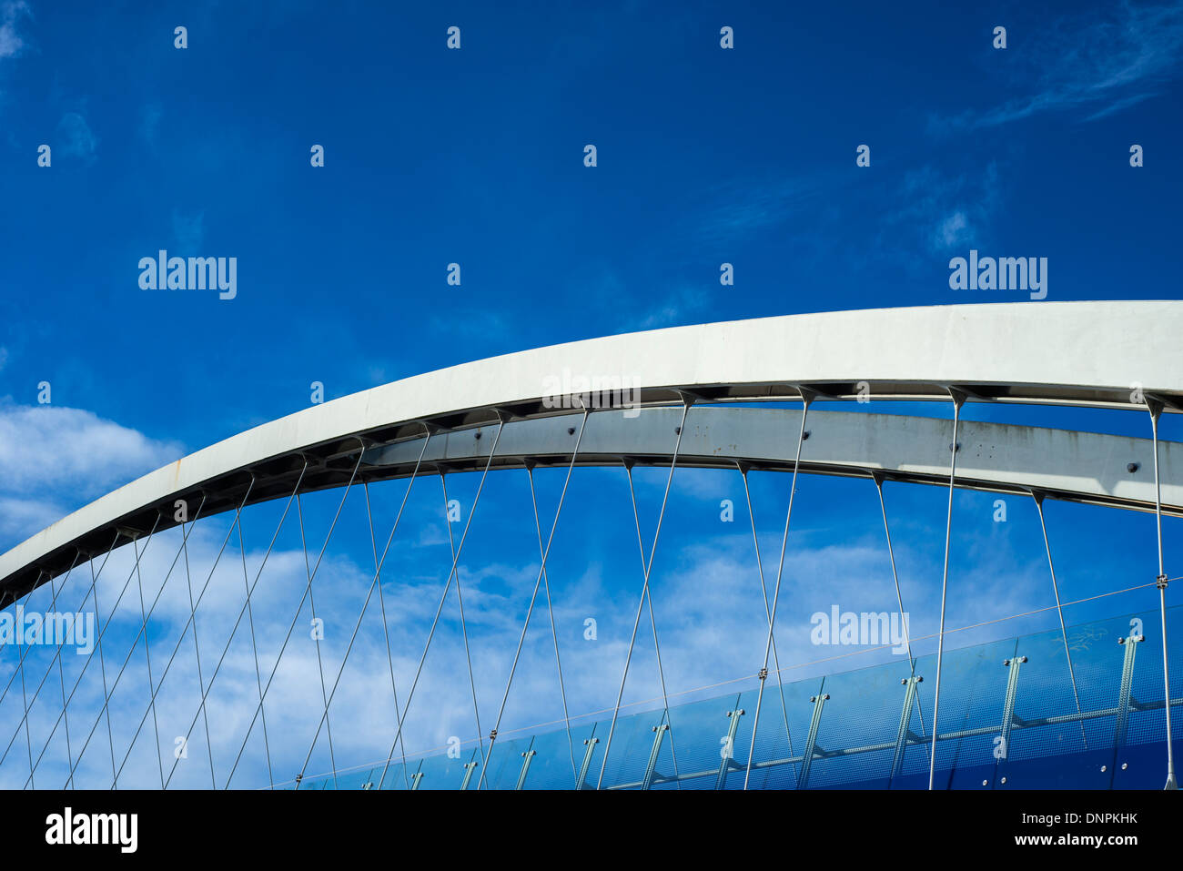 Detail of the lift bridge, or Millennium footbridge, at Salford Quays, Greater Manchester, England, UK - Stock Image