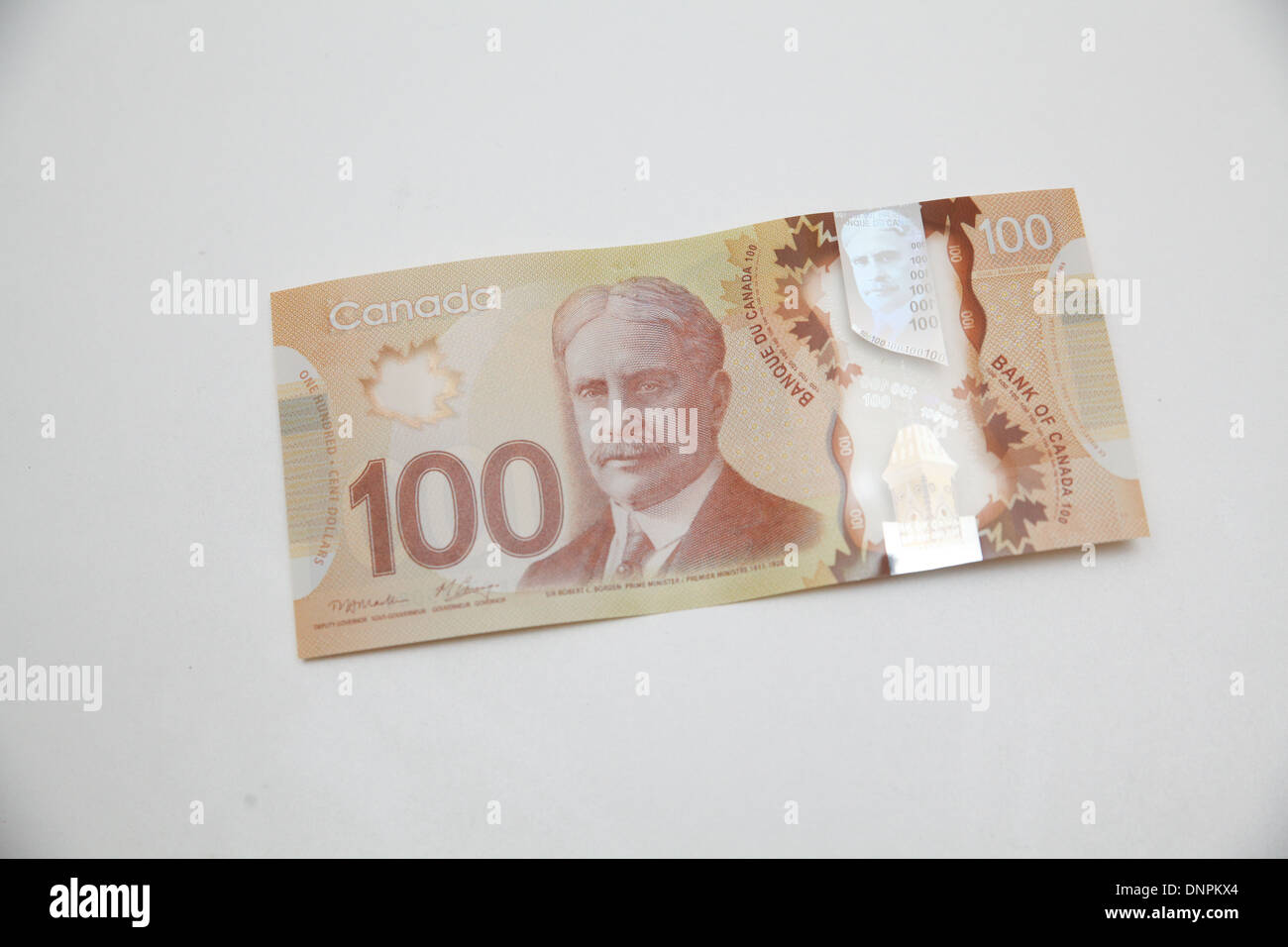One Canadian hundred dollar bill - Stock Image