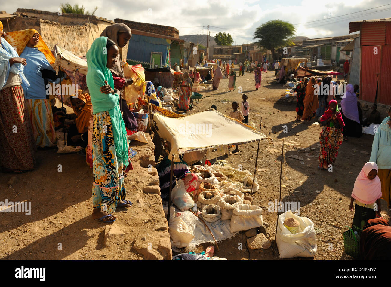 Local market in the streets of Dikhil town in the south of Djibouti, Horn of Africa - Stock Image