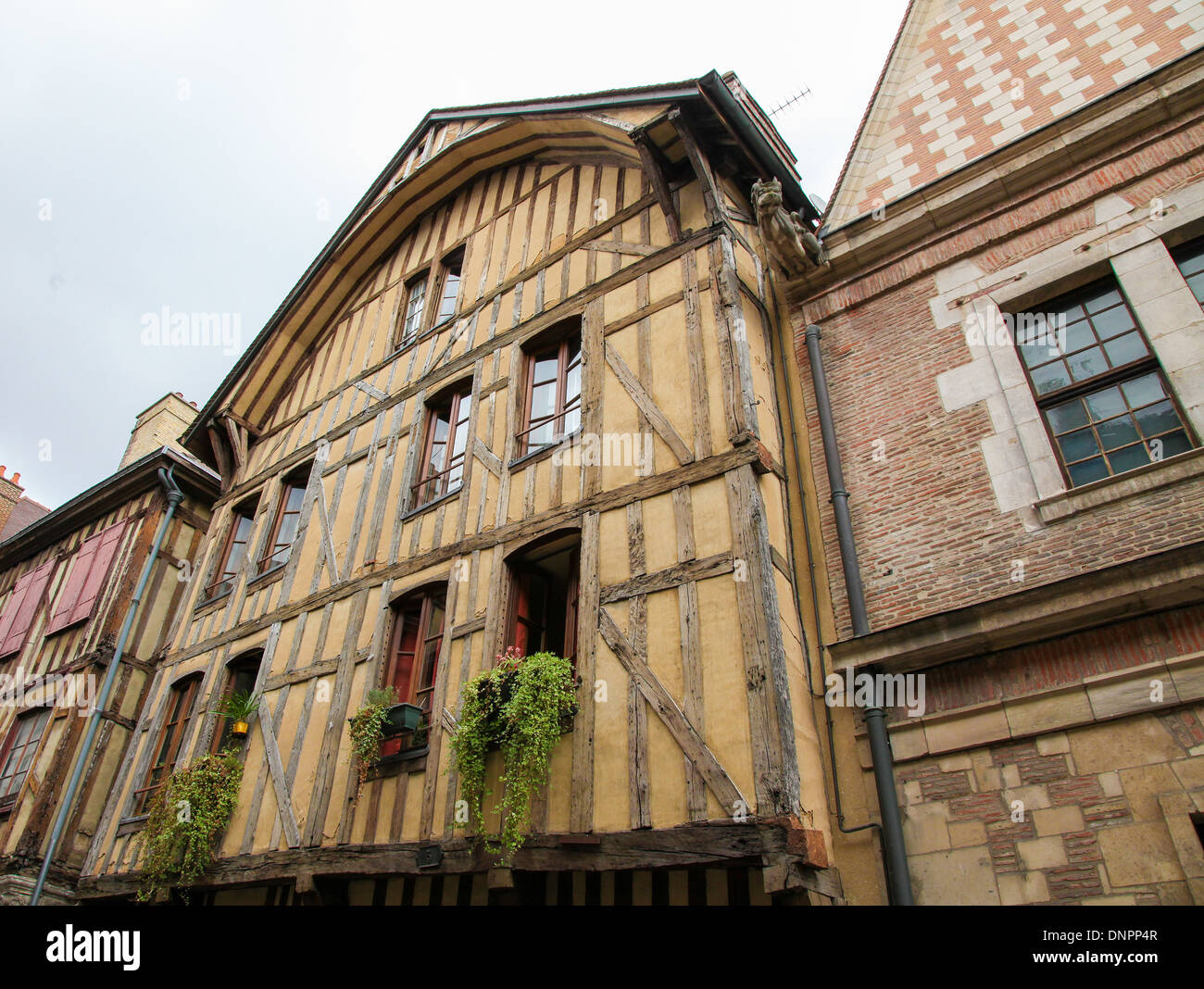 A typical half timbered house in Vezelay, Bourgogne, France. - Stock Image