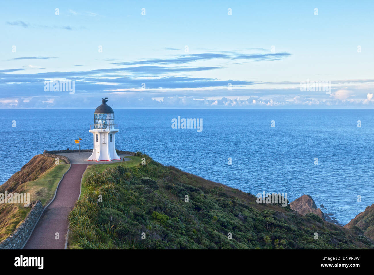 Cape Reinga is at the northern tip of New Zealand's North Island, though not quite the most northerly point. It - Stock Image
